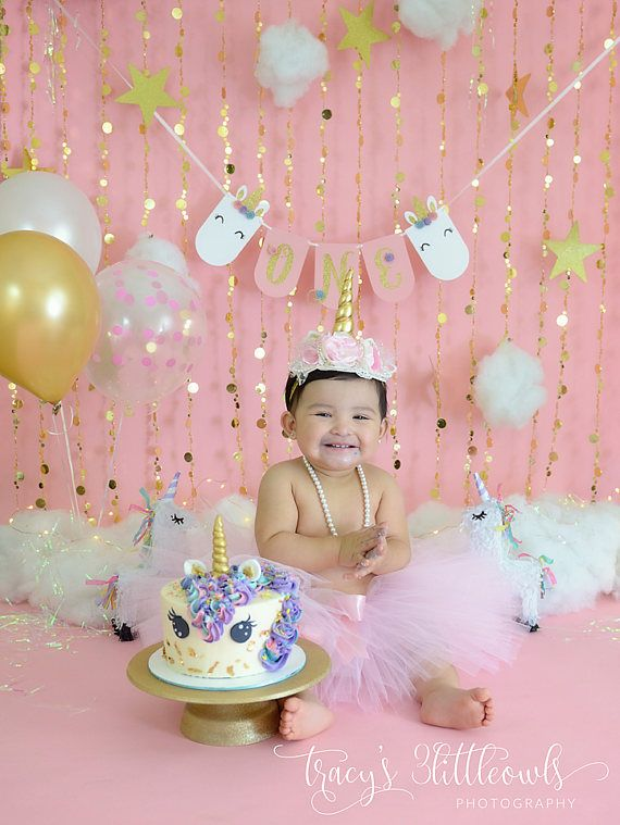 Celebrate Your Little Girls First Birthday With Our Unicorn High Chair Banner Ideal As An Addition To Theme Party This Can Be