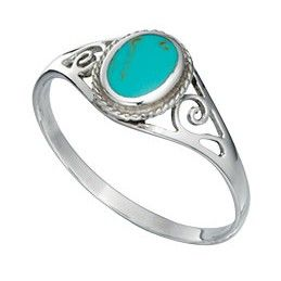 Sterling Silver Filigree Ring with Turquoise - With a contemporary and free spirited feel, this stylish ring from the must-have Beginnings collection is expertly crafted from 925 grade sterling silver and turquoise: http://ow.ly/XycQZ