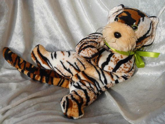 Stuffed TIGER plush toy Wild Cat plushie floppy by TALLhappyCOLORS