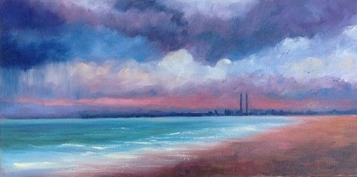 "Jane Meyler, ""Incoming Storm over Dollymount"" #art #storm #clouds #beach #water #waves #shore #Dollymount #labdscape #seascape #DukeStreetGallery"