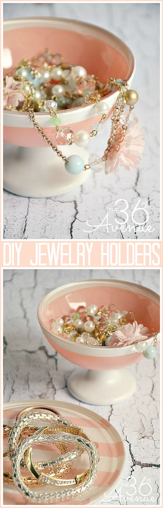 GIFT IDEA : DIY Jewelry Holders made with Dollar Store dishes... So cute! the36thavenue.com