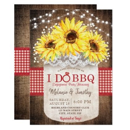 Rustic I Do BBQ Sunflower Engagement Invitations - wedding invitations cards custom invitation card design marriage party