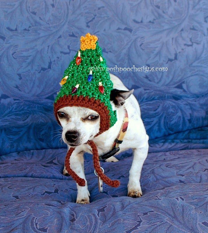 Awesome dog hat crochet pattern! Posh Pooch Designs Dog Clothes: Christmas Tree Dog Hat Crochet Pattern