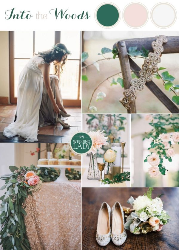 Romantic Woodland Wedding in Blush and Forest Green | http://heyweddinglady.com/9-ethereal-wedding-palettes-spring/