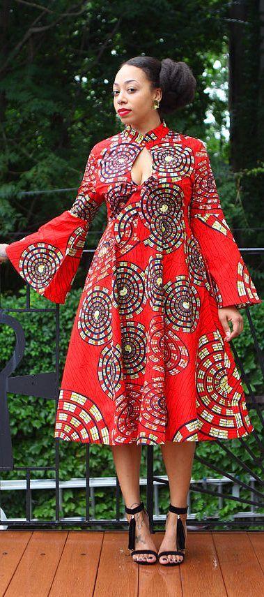 cool Mariposa Roja MIDI Dress. ~African fashion, Ankara, kitenge, African women dress...