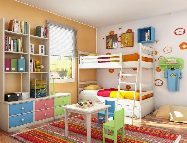 Nursery idea colorful decoration two beds shelves books carpet