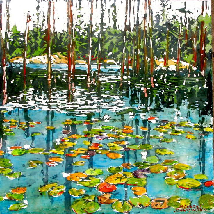 """beaver pond with lilies / crooked bay road, georgian bay  16"""" x 16""""   micheal zarowsky / mixed media (watercolour / acrylic painted directly on gessoed birch panel) available $500.00"""