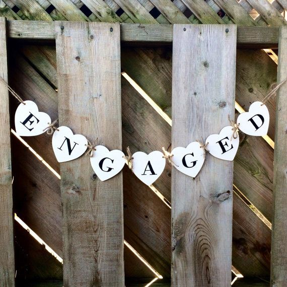 Engagement photo prop engaged banner wood by ScreechOwlSupply