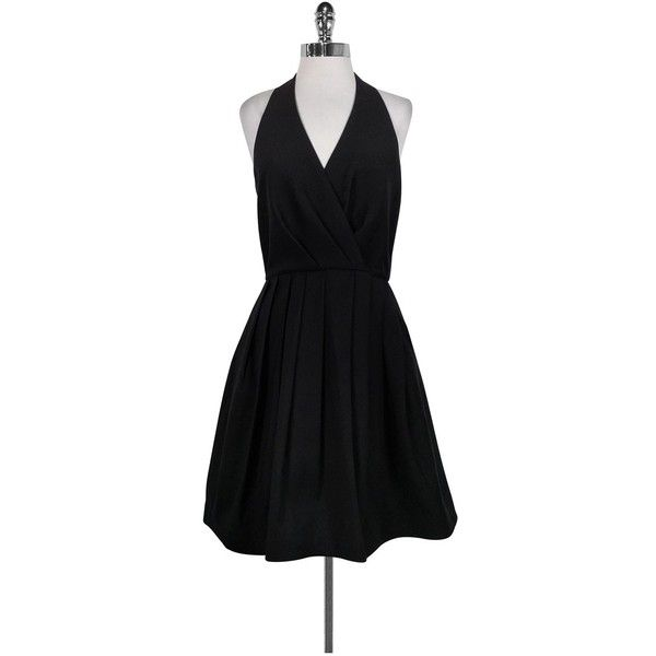 Pre-owned Halston Heritage Black Halter Dress ($157) ❤ liked on Polyvore featuring dresses, black, cotton cocktail dress, halter neck cocktail dress, v neck halter top, halter top and zip back dress