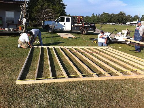 outdoor wedding dance floor | Construction of the dance floor for our wedding.