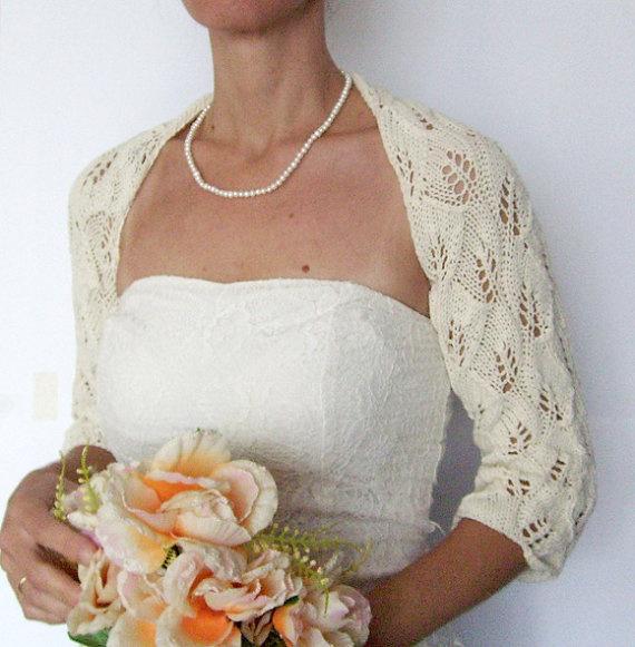 Bridal Shrug Knit Wedding Bolero in ivory by vara on Etsy, $67.00