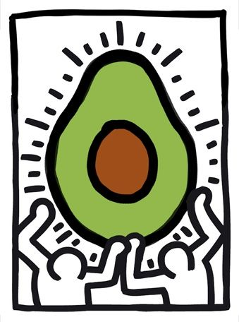Untitled, 1988 (Two Figures with Heart with Avocado), Keith Haring, 1988. 25 Famous Paintings Improved by Avocados - Page 16 - The Late Show with Stephen Colbert Photos - CBS.com