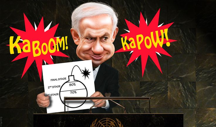 https://flic.kr/p/deDhbj | Bibi Shows Cartoon of Mass Destruction to UN | Bibi Netanyahu makes a speech before the United Nations.  Is this another NEO-CON-JOB? I remember the last time a leader was showing cartoons to the UN to make an argument.    Benjamin Netanyahu, aka Bibi Netanyahu, is the Prime Minister of Israel.  The source image for this caricature of Prime Minister Benjamin Netanyahu is a photo in the public domain available via Wikimedia. The UN background is adapted from a…