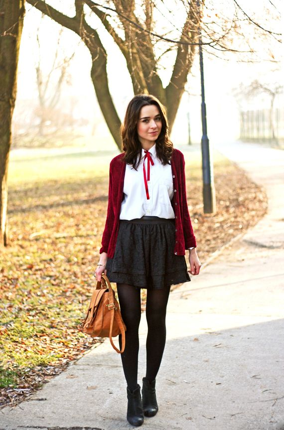 Black skater skirt + white shirt with bow                                                                                                                                                                                 More