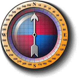 A compass with markings at 10 degree intervals