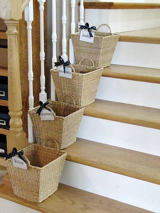 10 Pretty Ways To Organize With Baskets.  Stair baskets to corral stuff and send it back where it came from!