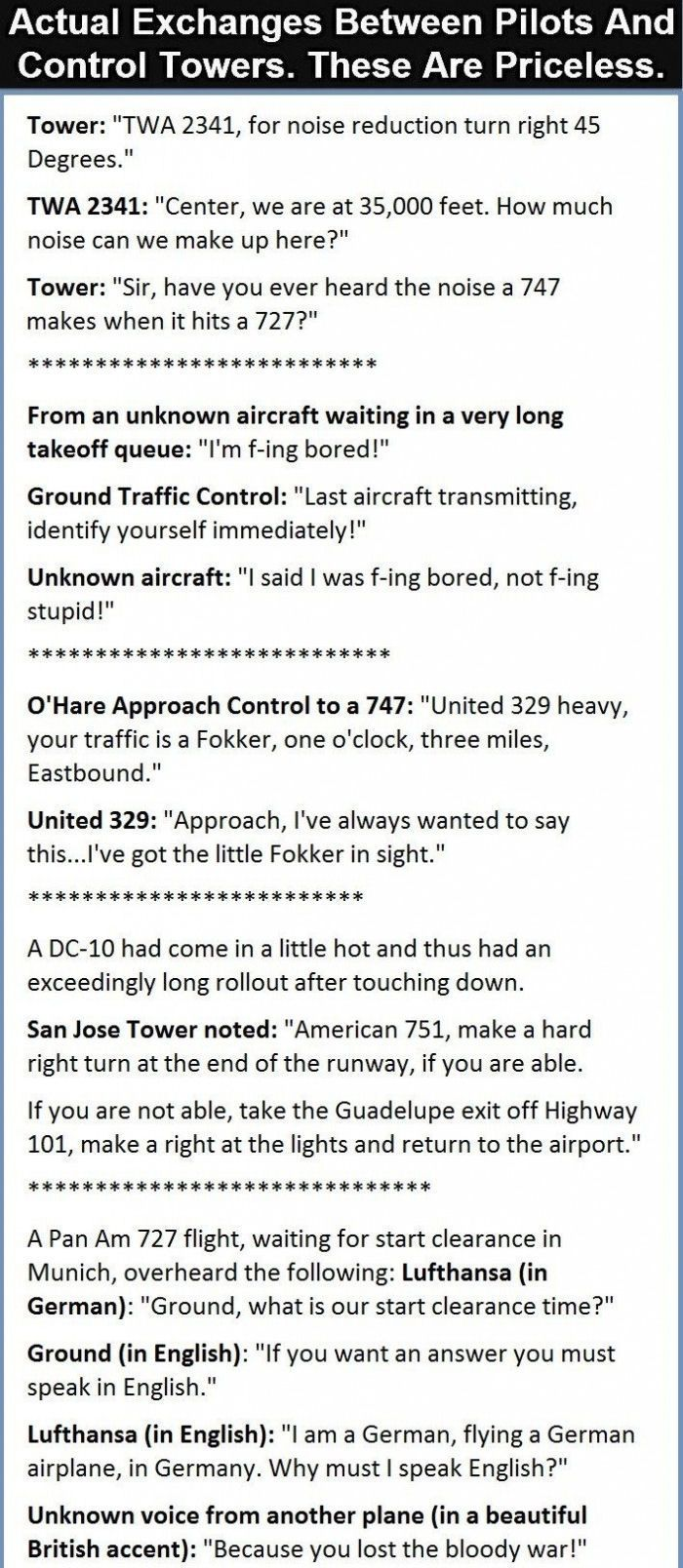 Actual Exchanges Between Pilots And Control Towers These Are Priceless funny jokes story lol funny quote funny quotes funny sayings joke humor stories airline pilots