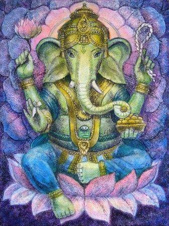 Good luck Ganesha Hindu elephant Buddha Spiritual Art poster Ganesh lotus