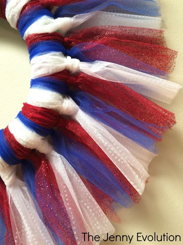 Red White and Blue Tulle Wreath