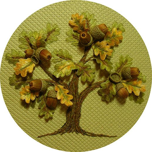 Stumpwork Acorn Oak Tree:  This is one of the most divine stitched pieces I've seen...  Definitely inspired to learn how to do stumpwork.