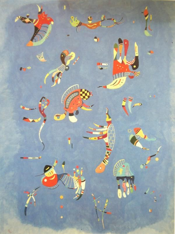 "One of Kandinsky's last paintings ""Sky Blue,"" 1940, oil on canvas, biomorphic abstraction, Pompidou Center, Paris"
