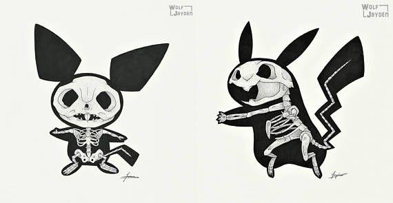 Skeleton Pichu/Pikachu  Original Pokemon Video Game Art Print