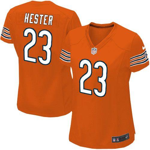 $109.99 Women's Nike Chicago Bears #23 Devin Hester Elite Alternate Orange Jersey
