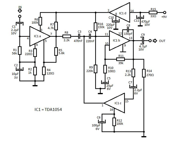 Audio Compressor Circuit with TDA1054 in 2020