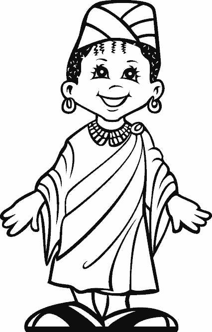 A happy kid from Africa coloring images free printable