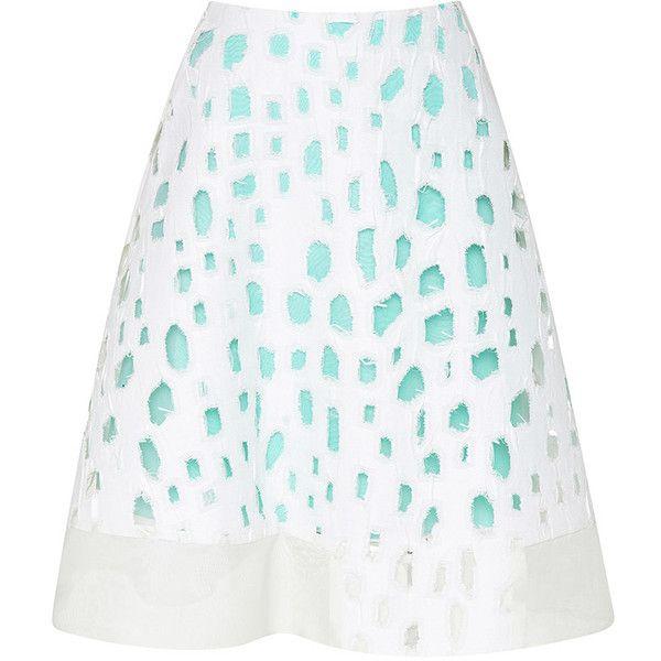 Prabal Gurung Organic Cutout Flared Skirt (€1.070) ❤ liked on Polyvore featuring skirts, prabal gurung, turquoise, cut out skirt, flared skirt, high waisted circle skirt, white high waisted skirt and high-waist skirt