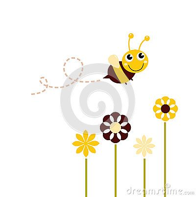 Adorable spring Bee flying around flowers. Vector