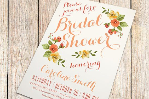 Printable Bridal Shower Invitation - Autumn Bridal Shower - Fall Bridal Shower (Ivory Background with Vintage Florals) on Etsy, $16.00