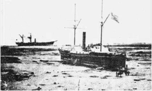 Arica, en la costa y tres naves, 1868