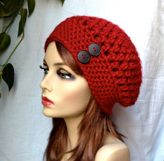 Etsy.SALE Red Womens Hat Crochet Beret Buttons Pick by JadeExpressions, $35.00