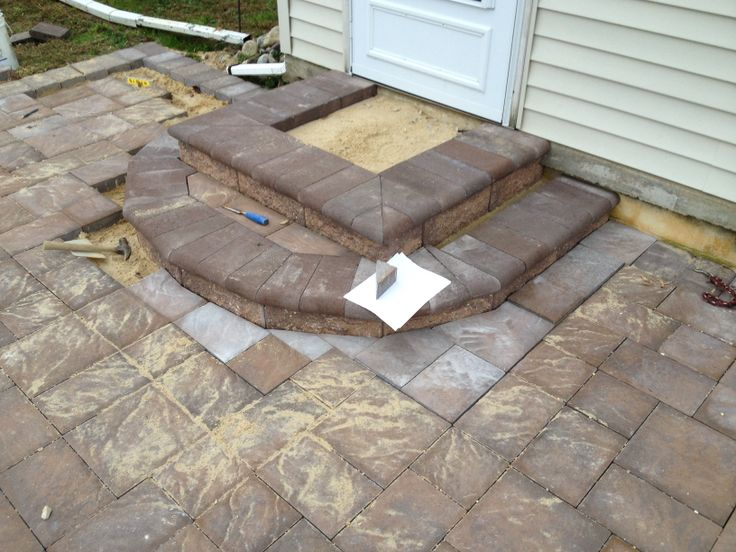 patio pavers last step is to build steps b i m built it myself patio installation. Black Bedroom Furniture Sets. Home Design Ideas
