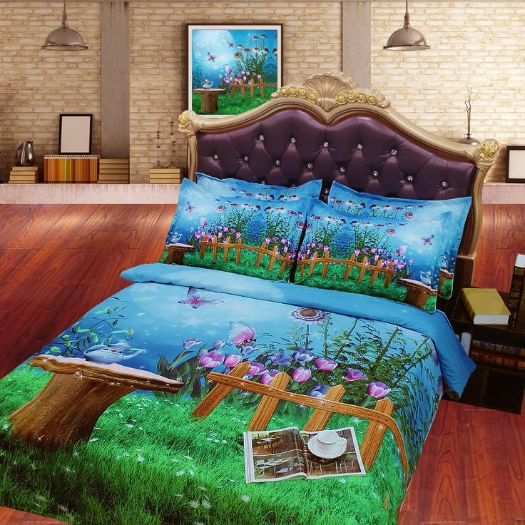 JF-063 Fairy Garden kids Night Tea Party 3D HD Digital Print quilt cover set twin full queen king size available
