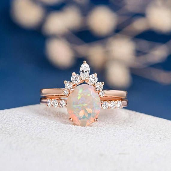 Vintage Gift for Girlfriends Silver Opal Gifts Rings Crown Opal Ring Curved Opal Ethiopian Opal Dainty ring Personalized Gits Jewelry