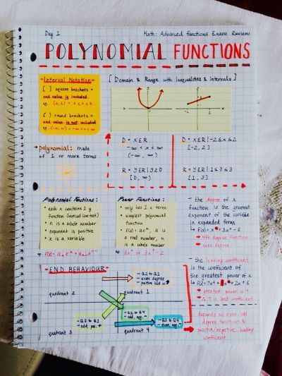 polynomial functions interactive notebook page