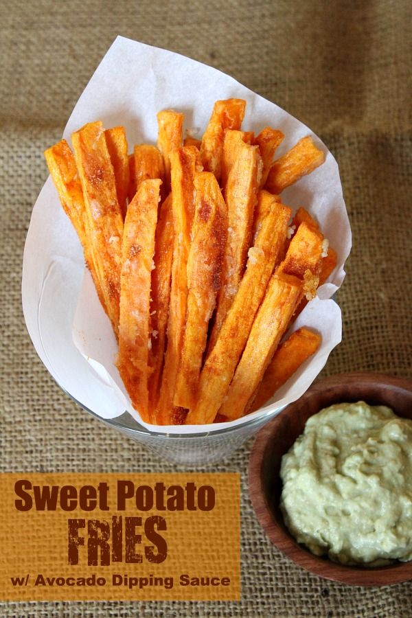 Sweet Potato Fries with Avocado Dipping Sauce - RecipeGirl.com    These are great!! I added garlic powder and salt to the avocado dip. much better, but still wonderful.