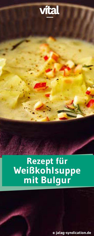 So habt ihr Weißkohlsuppe garantiert noch nie gegessen: raffinierter Geschmack dank Apfel und Rosmarin; Crème Fraîche sorgt für eine wunderbar sanfte Konsistenz. Und dazu Bulgur als Sattmacher. Probiert es aus!