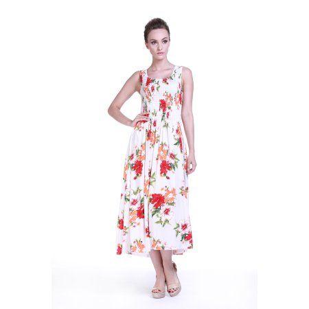 Hawaiian Dress Luau Dress Maxi Long Tank Elastic Dress in White with Small Red…