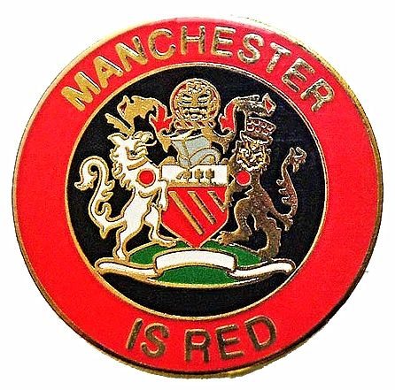 Manchester is RED Crest Metal Badge RB