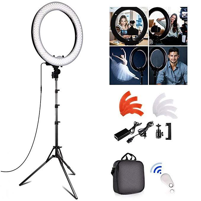 Fositan 18 Inch Led Ring Light Kit 18 Inches 48cm Outer 55w 5500k Dimmable 240 Led Ring Lighting Kit With Led Ring Light Led Ring Selfie Ring Light