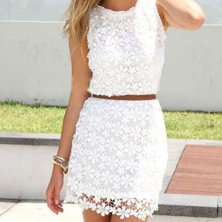 Summer Style Dress 2015 Hot Sale White Lace Decoration Sleeveless Sweet O-Neck Chiffon Dresses Vestidos Femininos WQW689