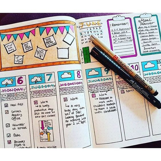 """This is such a fun layout! I especially like the colors and the """"clipboards"""" in the upper right corner."""