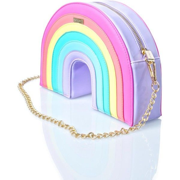 Skinnydip Rainbow Cross Body Bag (780 ARS) ❤ liked on Polyvore featuring bags, handbags, shoulder bags, chain shoulder bag, chain strap shoulder bag, crossbody shoulder bag, chain handle handbags and pastel purse