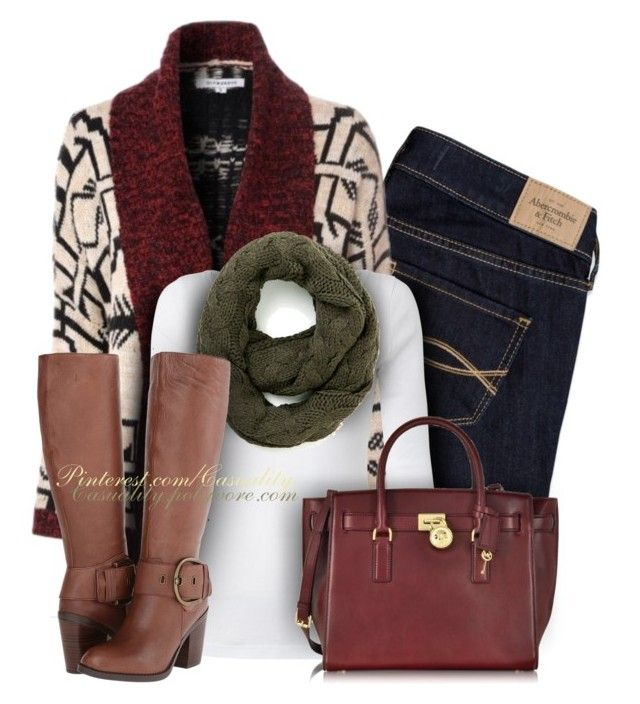 """""""Aztec Cardigan + Modcloth + Steve Madden + Mk"""" by casuality ❤ liked on Polyvore featuring Abercrombie & Fitch, White Stuff, Trilogy, Steve Madden and Michael Kors"""