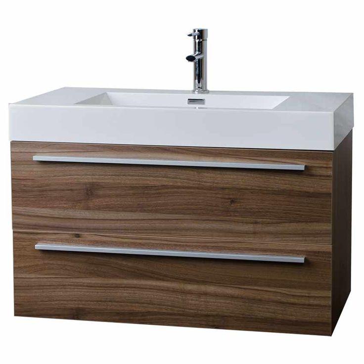 "35.5"" Wall-Mount Contemporary Bathroom Vanity Walnut TN-M900-WN $595.00 Including Sink"