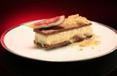 A plate with a fig and honey flavoured ice cream sandwich served with an almond prailine from My Kitchen Rules