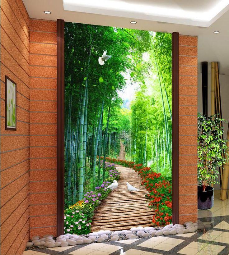 3d nature wallpapers Bamboo wooden bridge custom 3d photo wallpaper Home Decoration wallpaper modern 3d #Affiliate